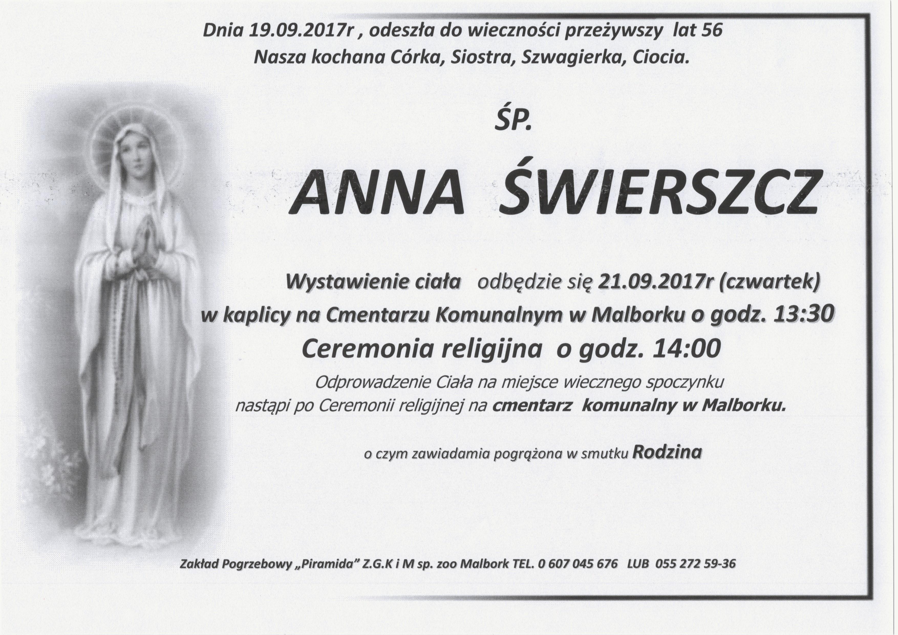 Zmarła Anna świerszcz żyła 56 Lat Tvregionalna24pl