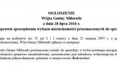 Ogłoszenie Wójta Gminy Miłoradz w sprawie sporządzenia wykazu nieruchomości przeznaczonych do sprzedaży - 28.07.2016