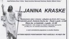 Zmarła Janina Kraske. Żyła 71 lat.