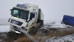 Gm. Stary Targ: Wypadek z udziałem ciężarówki i samochodu dostawczego. Uwaga ślisko na drogach! – 04.01.2017