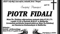 Zmarł Piotr Fidali. Żył 75 lat.