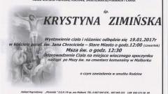 Zmarła Krystyna Zimińska. Żyła 89 lat.