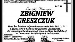 Zmarł Zbigniew Greszczuk. Żył 61 lat.