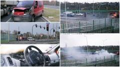 Pożar samochodu na skrzyżowaniu przed mostem i wypadek w Dębinie – 10.04.2017