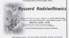 Zmarł Ryszard Radziłłowicz. Żył 88 lat.