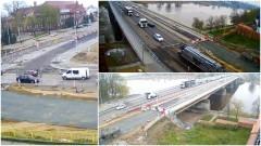 Dziś będzie wykonywana nawierzchnia z asfaltu lanego na starym moście. Kiedy skończą się korki w Malborku? Zobacz na żywo na kamerach telewizji Malbork – 28.04.2017