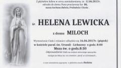 Zmarła Helena Lewicka. Żyła 86 lat.