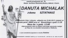 Zmarła Danuta Michalak. Żyła 76 lat.