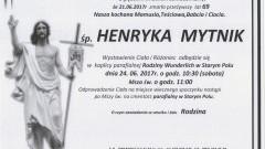 Zmarła Henryka Mytnik. Żyła 69 lat.