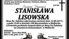 Zmarła Stanisława Lisowska. Żyła 86 lat.