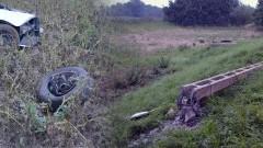 Rybina. Samochód wypadł z drogi ścinając słup elektryczny - 18.08.2017