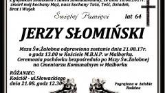 Zmarł Jerzy Słomiński. Żył 64 lat.