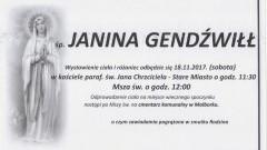Zmarła Janina Gendźwiłł. Żyła 89 lat