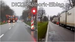 Korki i ruch wahadłowy w okolicy Królewa Malborskiego. Oddanie lewoskrętu opóźnione – 22.11.2017