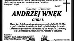 Zmarł Andrzej Wnęk. Żył 67 lat.