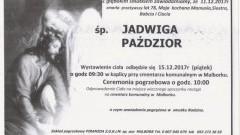 Zmarła Jadwiga Paździor. Żyła 78 lat