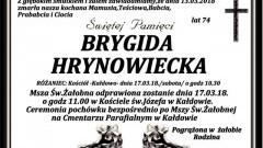 Zmarła Brygida Hrynowiecka. Żyła 74 lata.