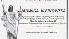 Zmarła Jadwiga Klejnowska. Żyła 61 lat.