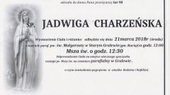 Zmarła Jadwiga Charzeńska. Żyła 98 lat
