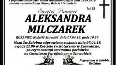 Zmarła Aleksandra Milczarek. Żyła 83 lata