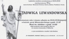 Zmarła Jadwiga Lewandowska . Żyła 78 lat.