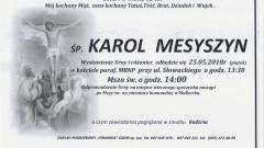 Zmarł Karol Mesyszyn. Żył 82 lata