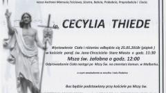 Zmarła Cecylia Thiede. Żyła 82 lat.
