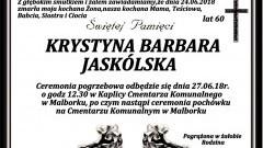 Zmarła Krystyna Barbara Jaskólska. Żyła 60 lat.