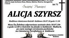 Zmarła Alicja Szyrsz. Żyła 71 lat.