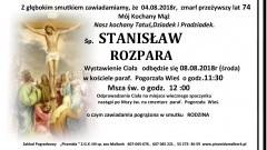 Zmarł Stanisław Rozpara. Żył 74 lata.