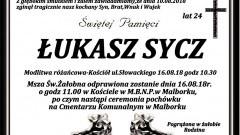 Zmarł Łukasz Sycz. Żył 24 lata