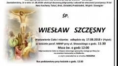 Zmarł Wiesław Szczęsny. Żył 76 lat.