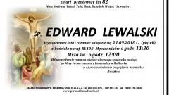 Zmarł Edward Lewalski. Żył 82 lata.