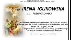 Zmarła Irena Iglikowska. Żyła 72 lata.