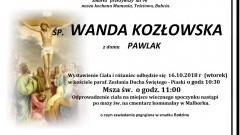 Zmarła Wanda Kozłowska. Żyła 96 lat.
