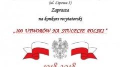 """"""" 100 utworów na stulecie Polski"""" - konkurs recytatorski w Stegnie."""