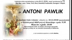 Zmarł Antoni Pawlik. Żył 73 lata.
