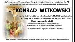 Zmarł Konrad Witkowski. Żył 72 lata.