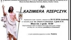Zmarła Kazimiera Rzepczyk. Żyła 62 lata.