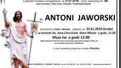 Zmarł Antoni Jaworski. Żył 84 lata.