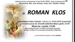 Zmarł Roman Klos. Żył 78 lat.