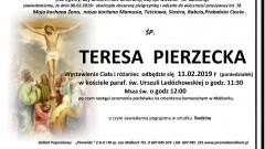 Zmarła Teresa Pierzecka. Żyła 78 lat.