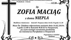 Zmarła Zofia Maciąg. Żyła 88 lat.