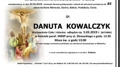 Zmarła Danuta Kowalczyk. Żyła 84 lata.