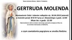 Zmarła Gertruda Molenda. Żyła 90 lat.