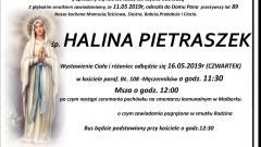 Zmarła Halina Pietraszek. Żyła 89 lat.