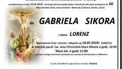 Zmarła Gabriela Sikora. Żyła 66 lat