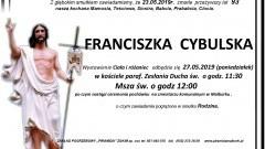 Zmarła Franciszka Cybulska. Żyła 93 lata.