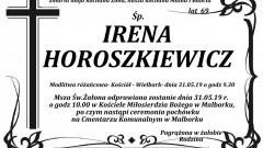 Zmarła Irena Horoszkiewicz. Żyła 69 lat.