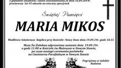 Zmarła Maria Mikos. Żyła 95 lat